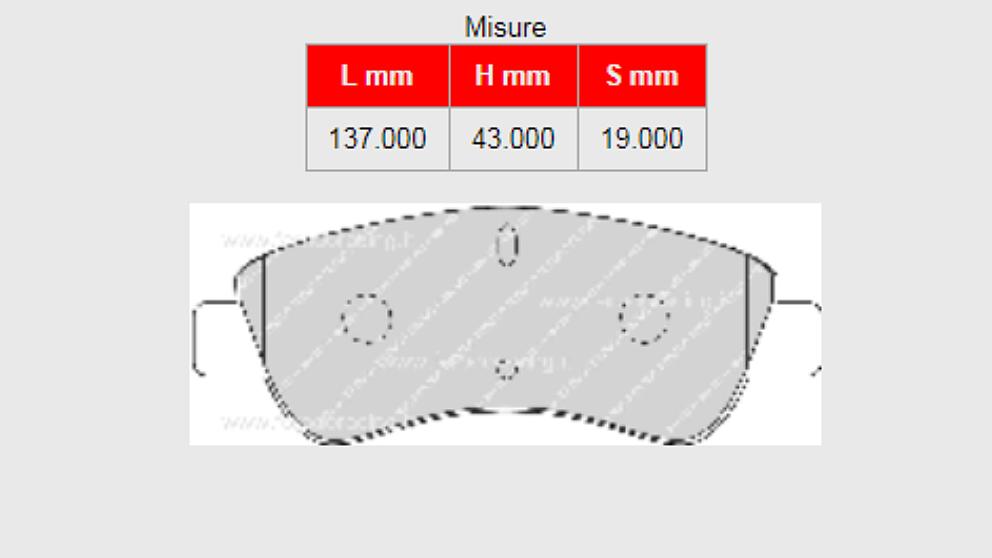 Pastiglie Citroen C2 VTS disegno e misure
